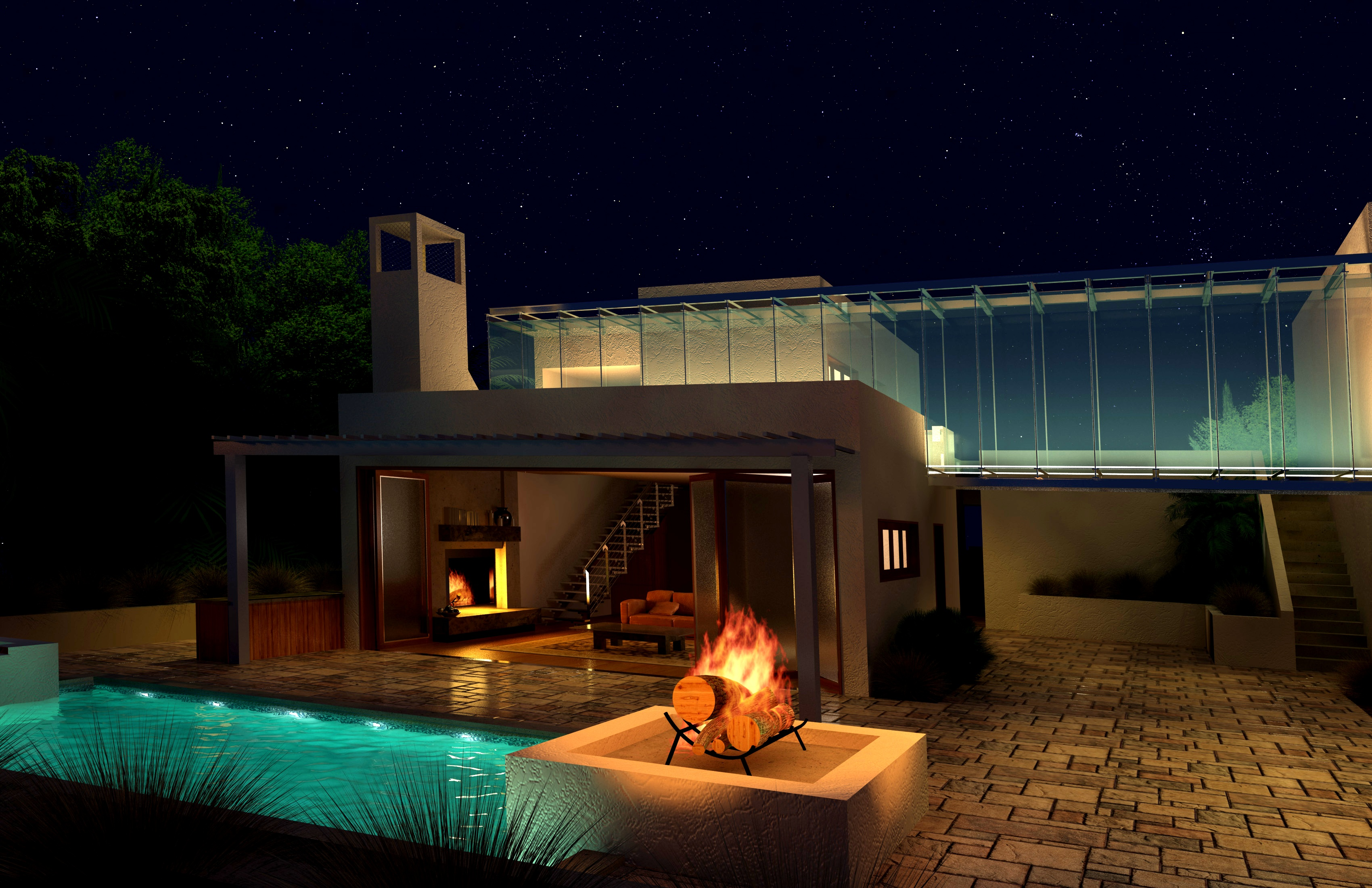 Palm Desert Home at Night